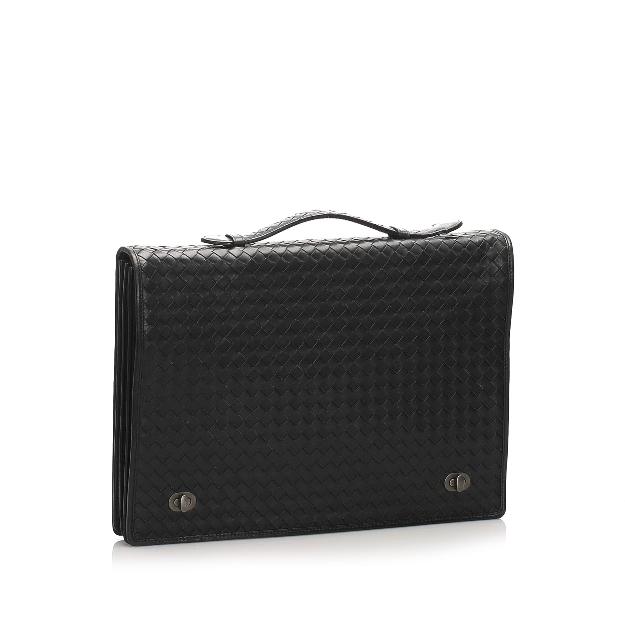 Bottega Veneta Black Intrecciato Leather Briefcase