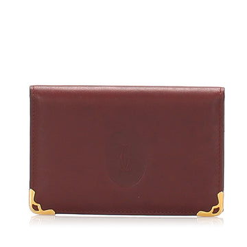 Cartier Red Must De Cartier Leather Card Case