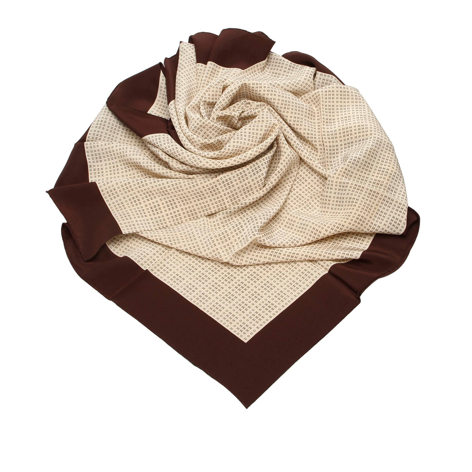 Chanel Brown Printed Silk Scarf