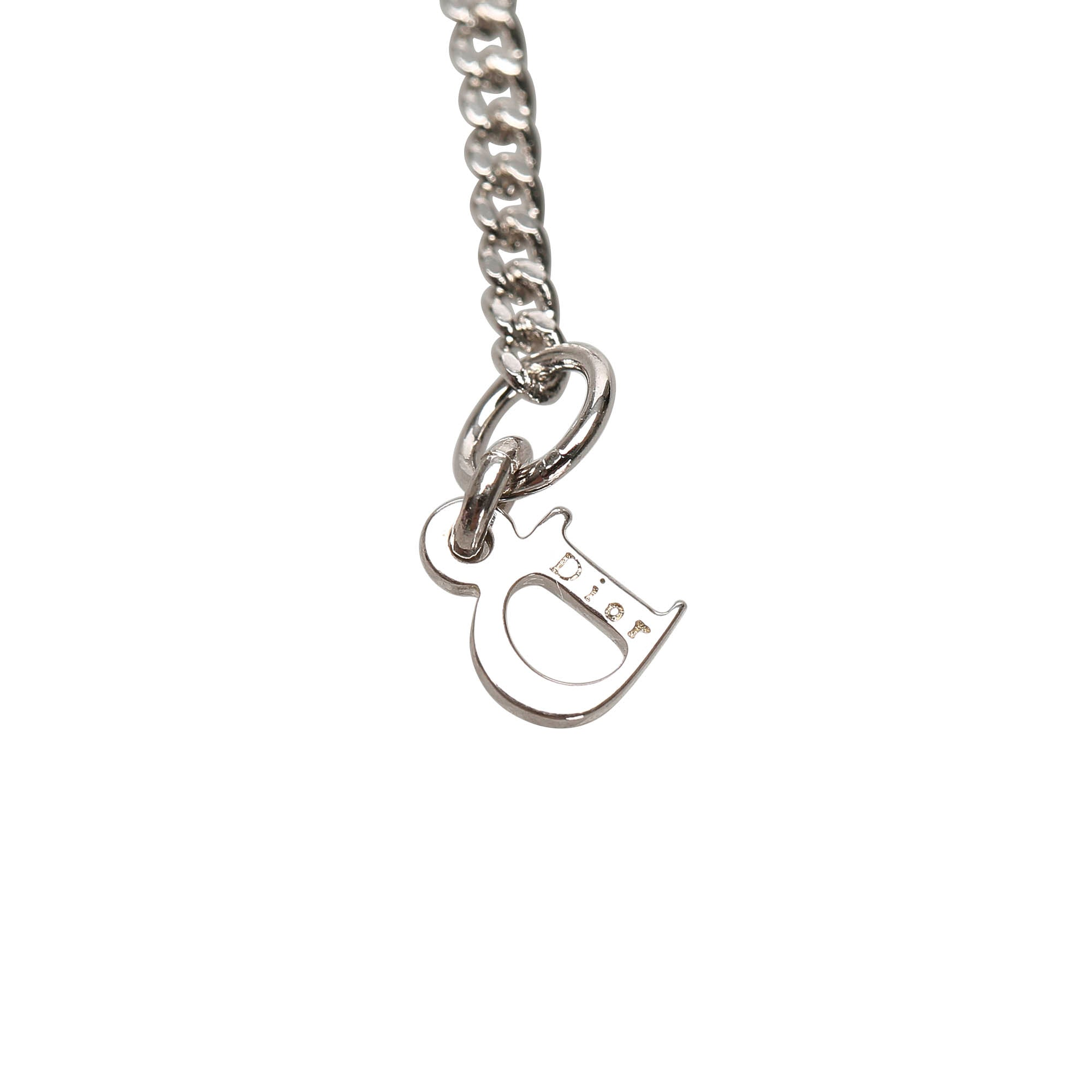 Dior Silver Logo Drop Pendant Necklace