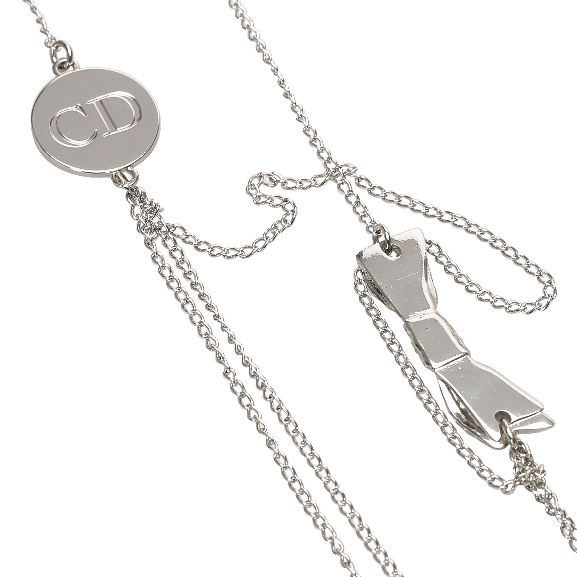 Dior Silver Logo Ribbon Necklace