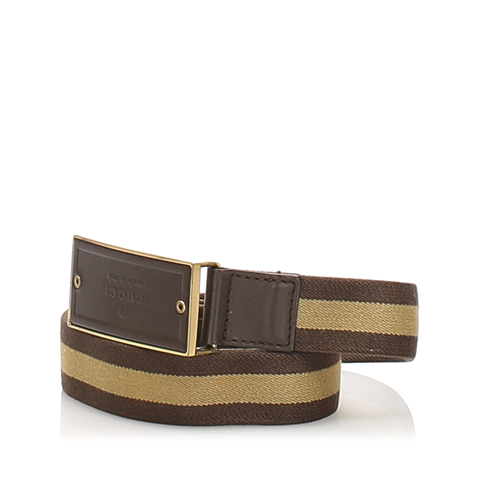 Gucci Brown Web Canvas Belt