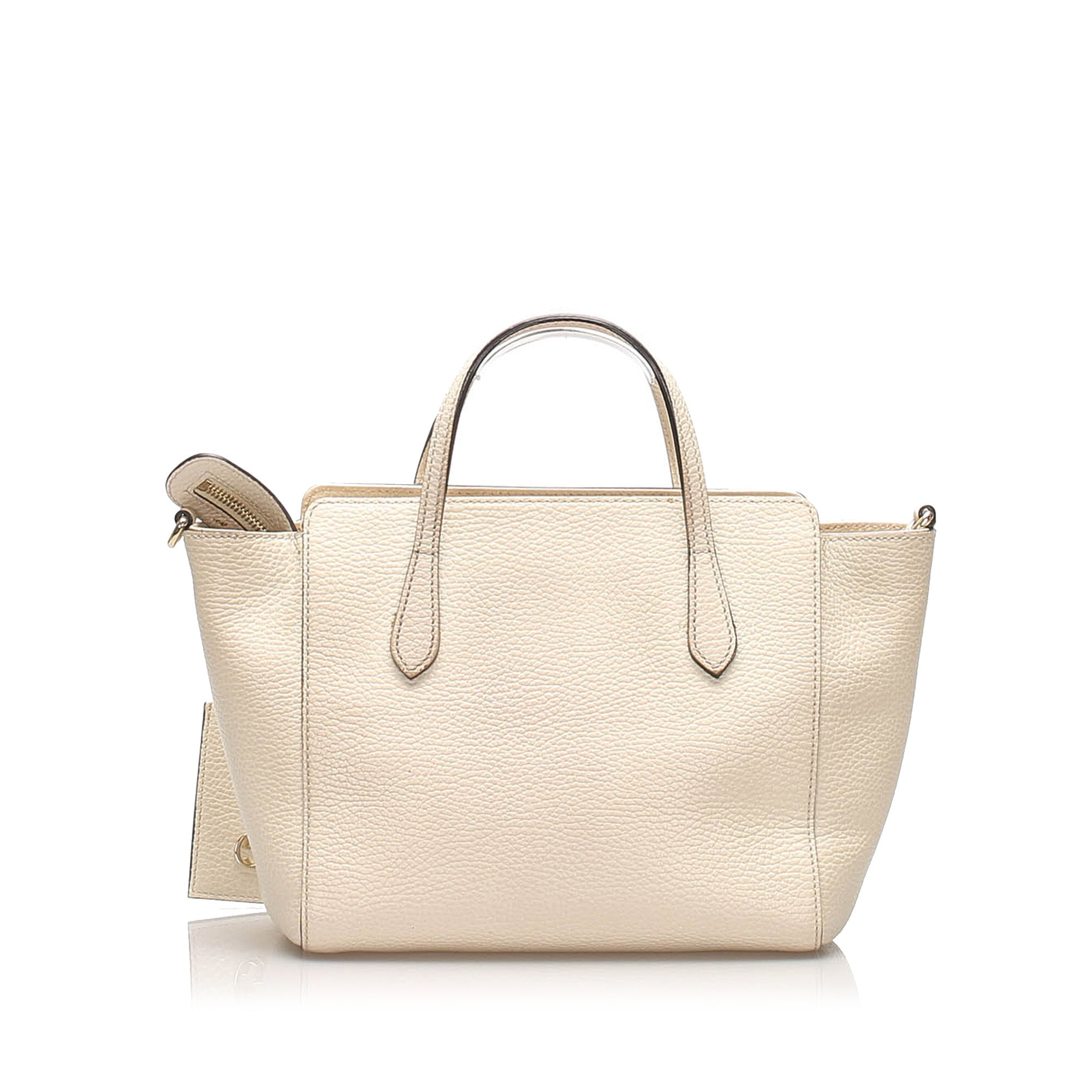 Gucci White Swing Leather Satchel