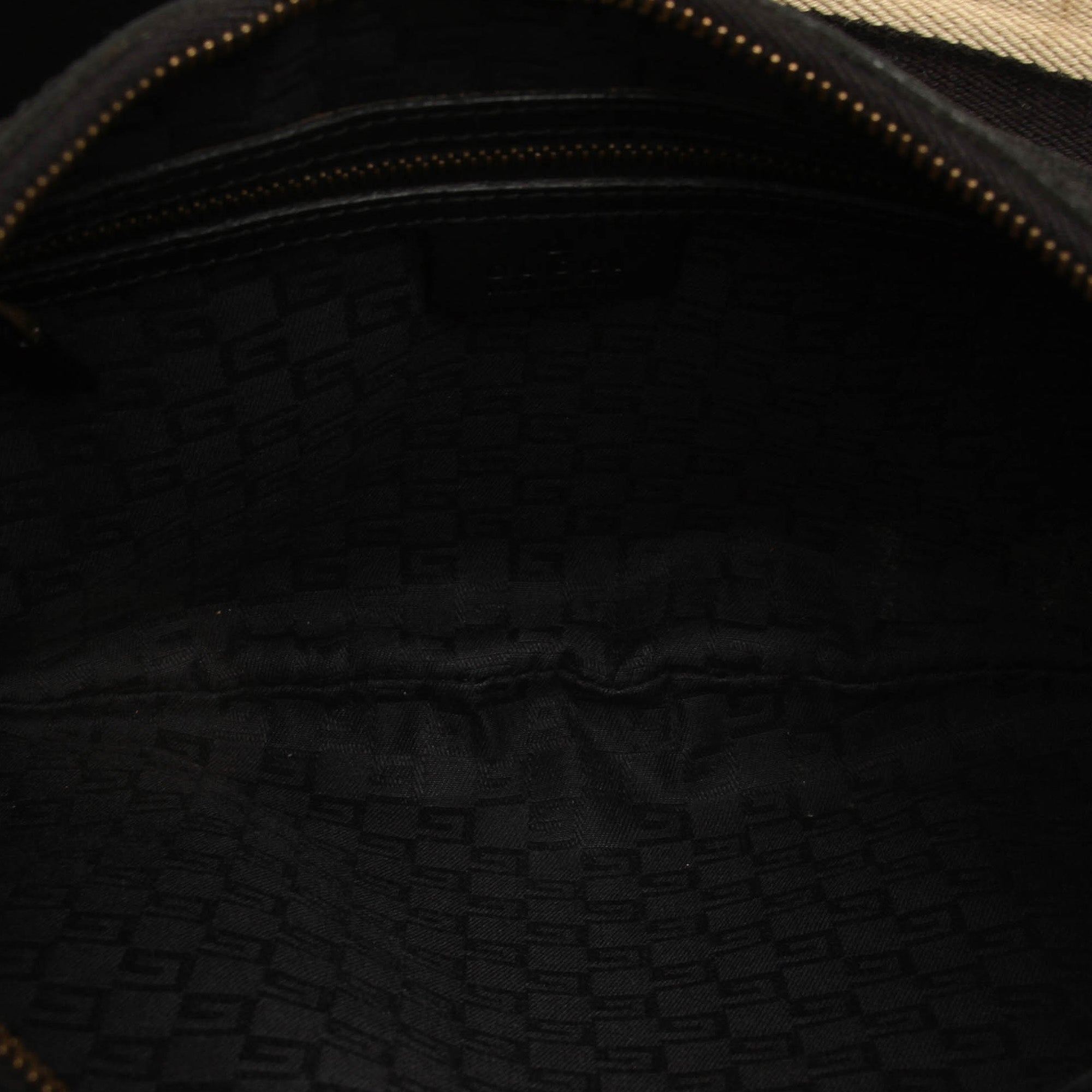 Gucci Black Web Canvas Hobo Bag