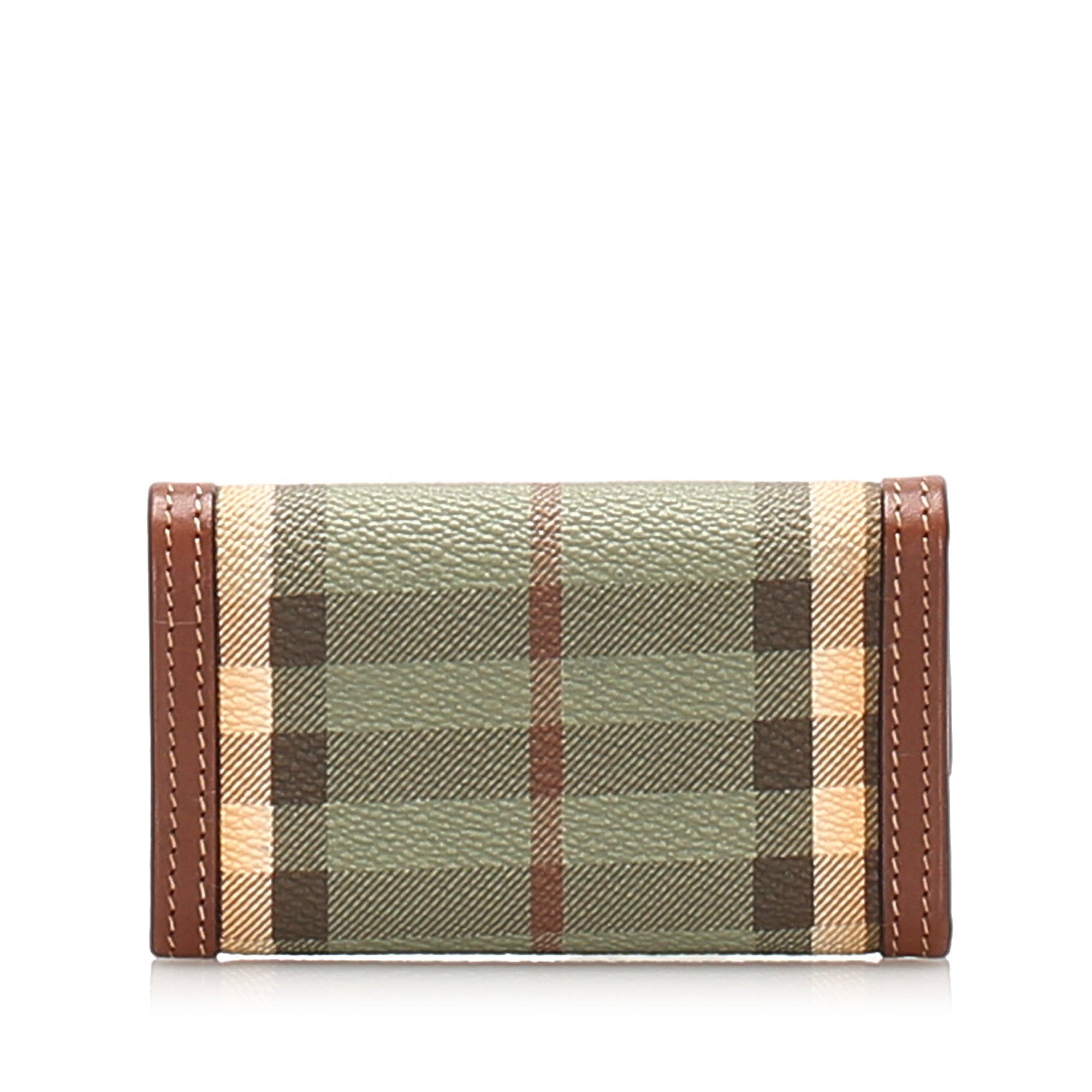 Burberry Blue Haymarket Check Coated Canvas Key Holder