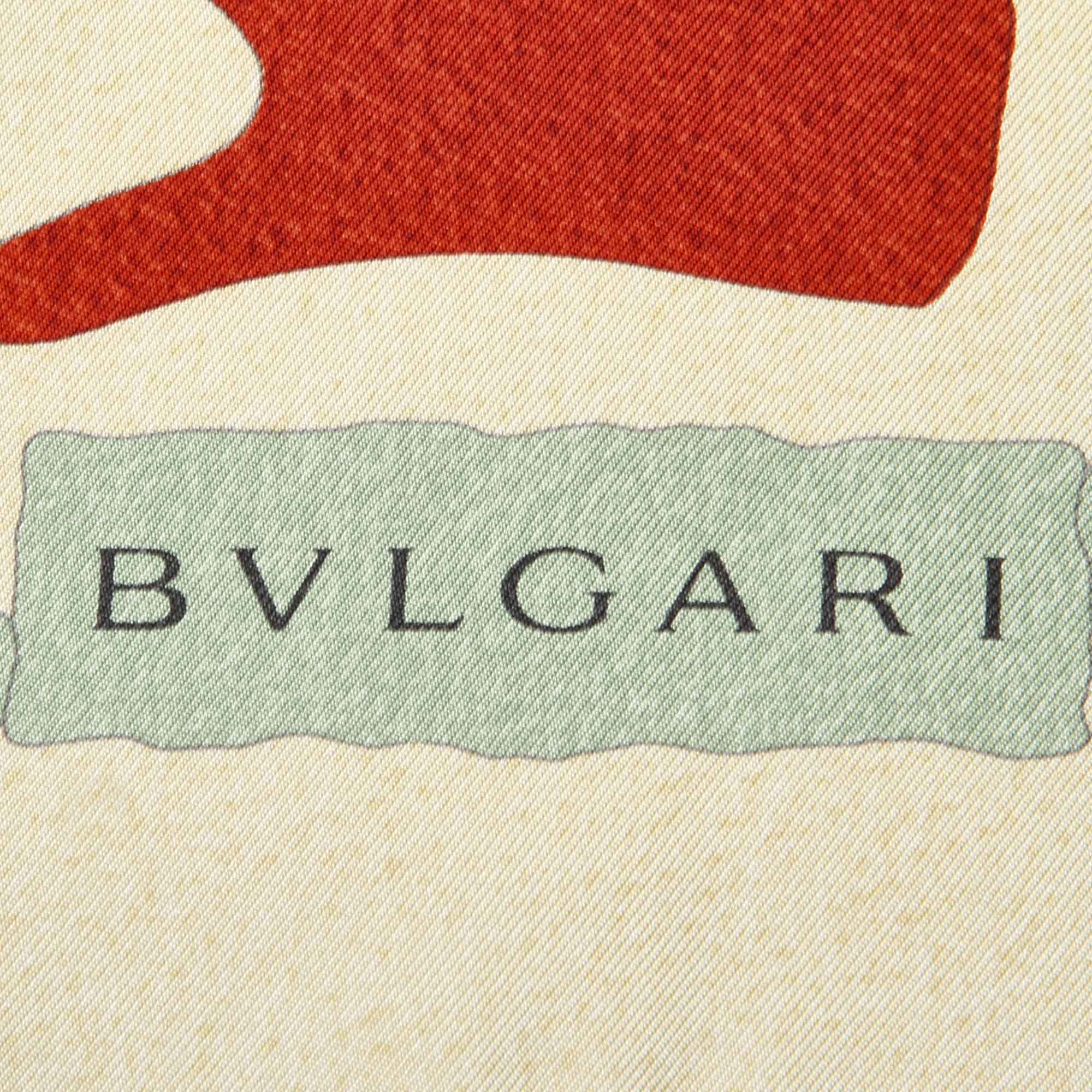 Bvlgari Brown Printed Silk Scarf
