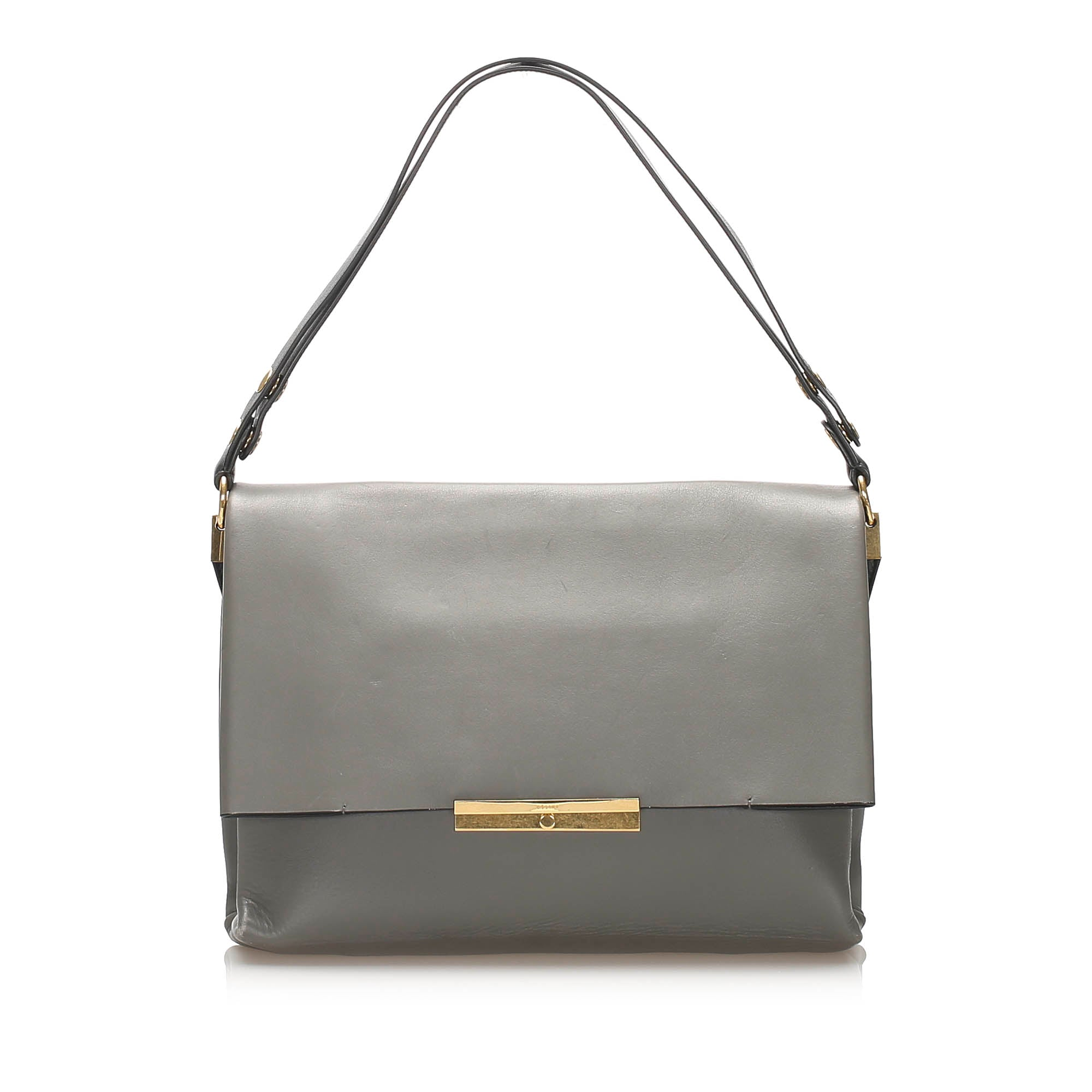 Celine Gray Blade Leather Shoulder Bag