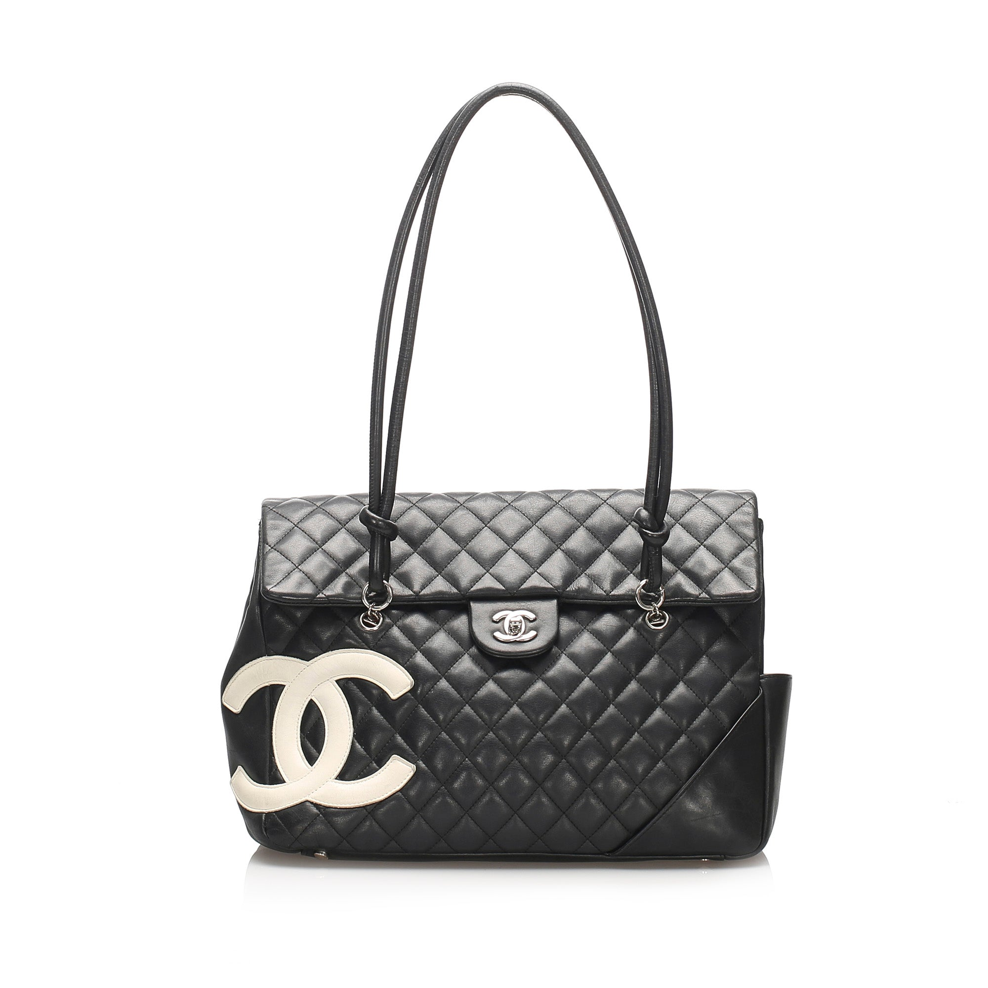 Chanel Black Cambon Ligne Lambskin Leather Tote Bag