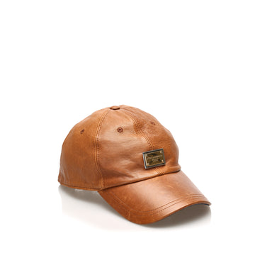 Dolce&Gabbana Brown Leather Baseball Cap