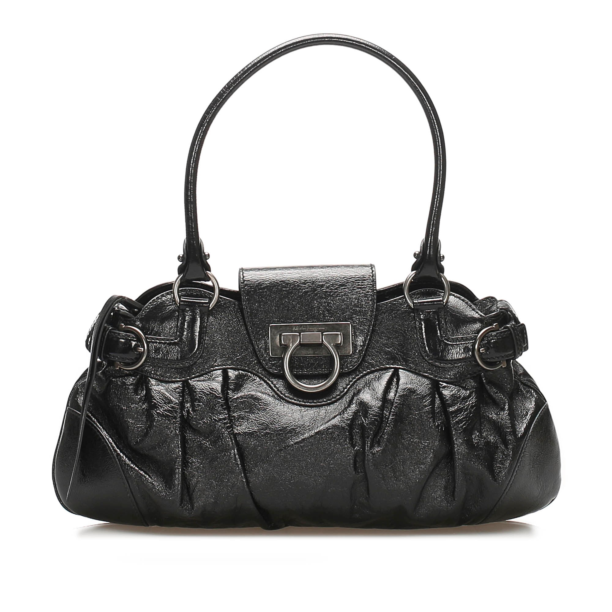 Ferragamo Black Gancini Marisa Leather Handbag