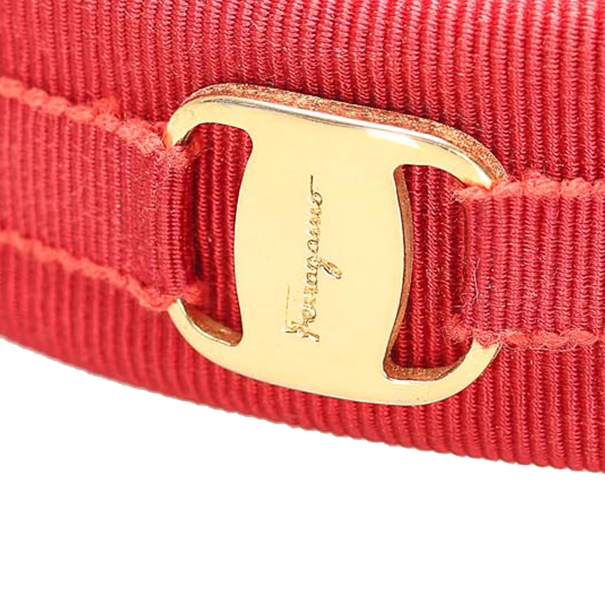 Ferragamo Red Vara Bow Grosgrain Headband