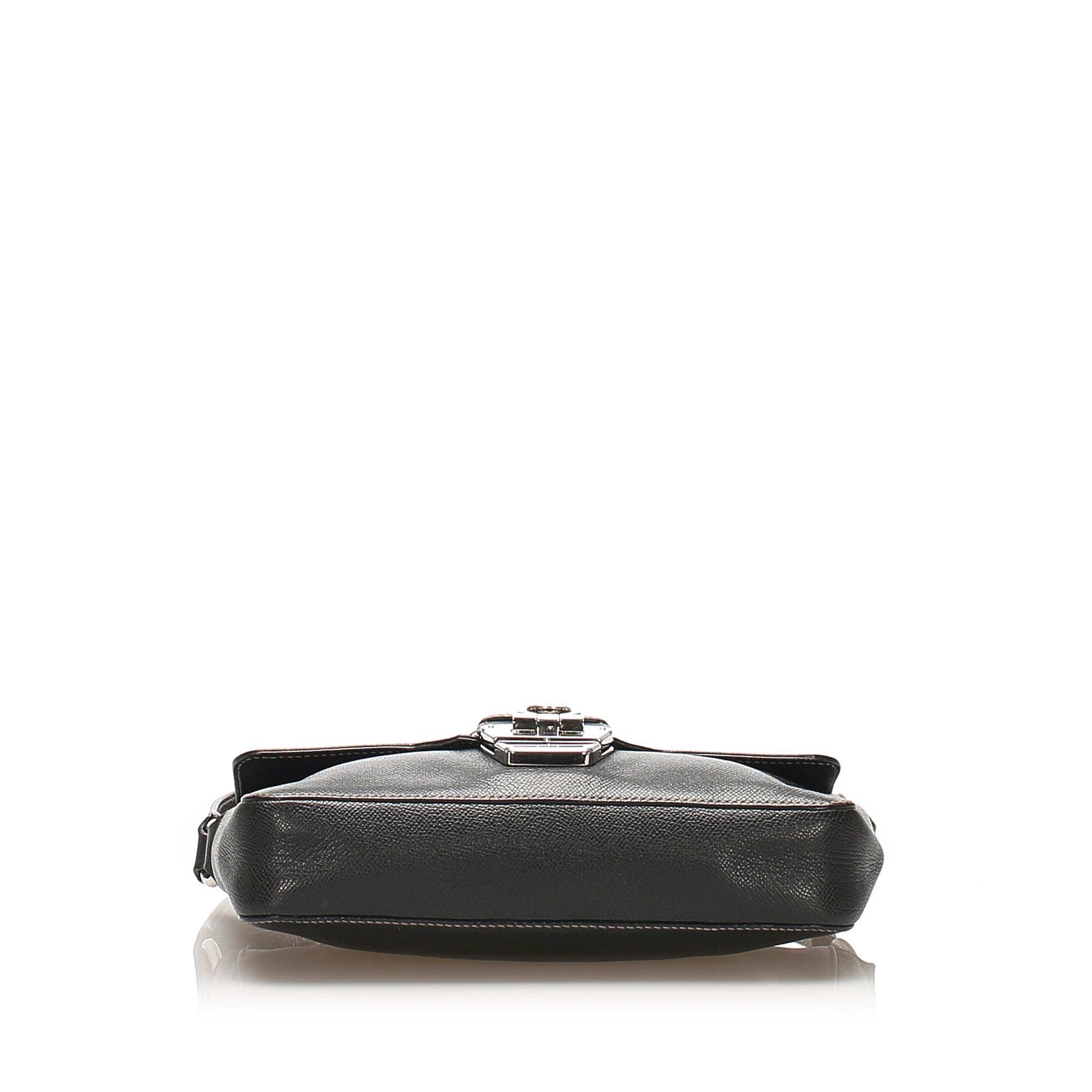 Ferragamo Black Gancini Leather Shoulder Bag