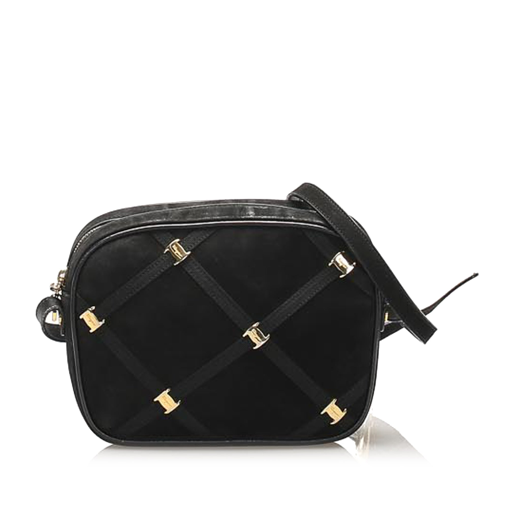 Ferragamo Black Vara Suede Crossbody Bag