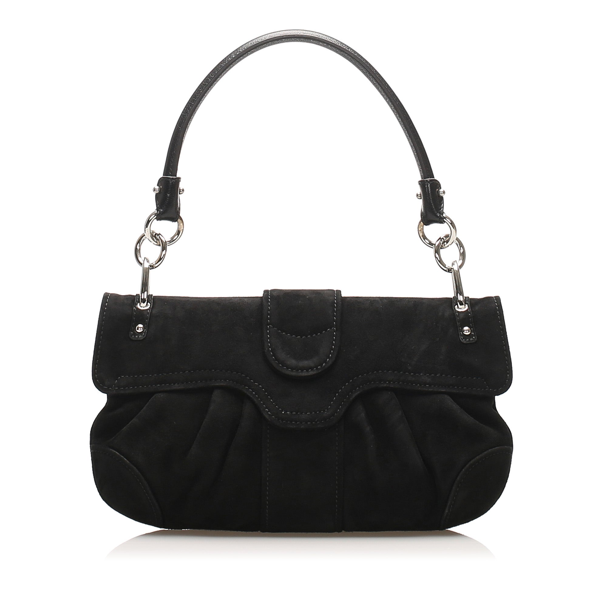 Ferragamo Black Gancini Suede Shoulder Bag