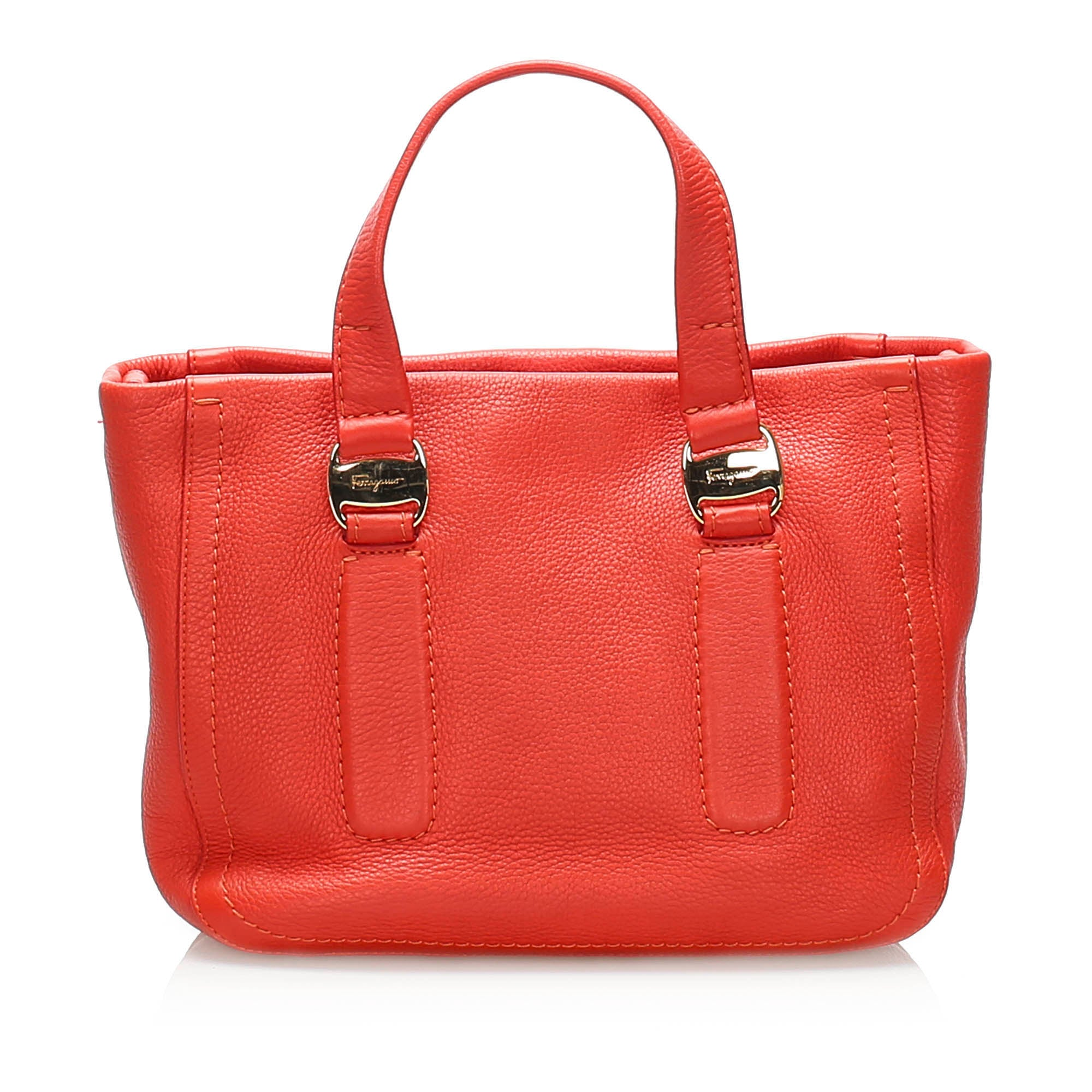 Ferragamo Red Vara Leather Satchel