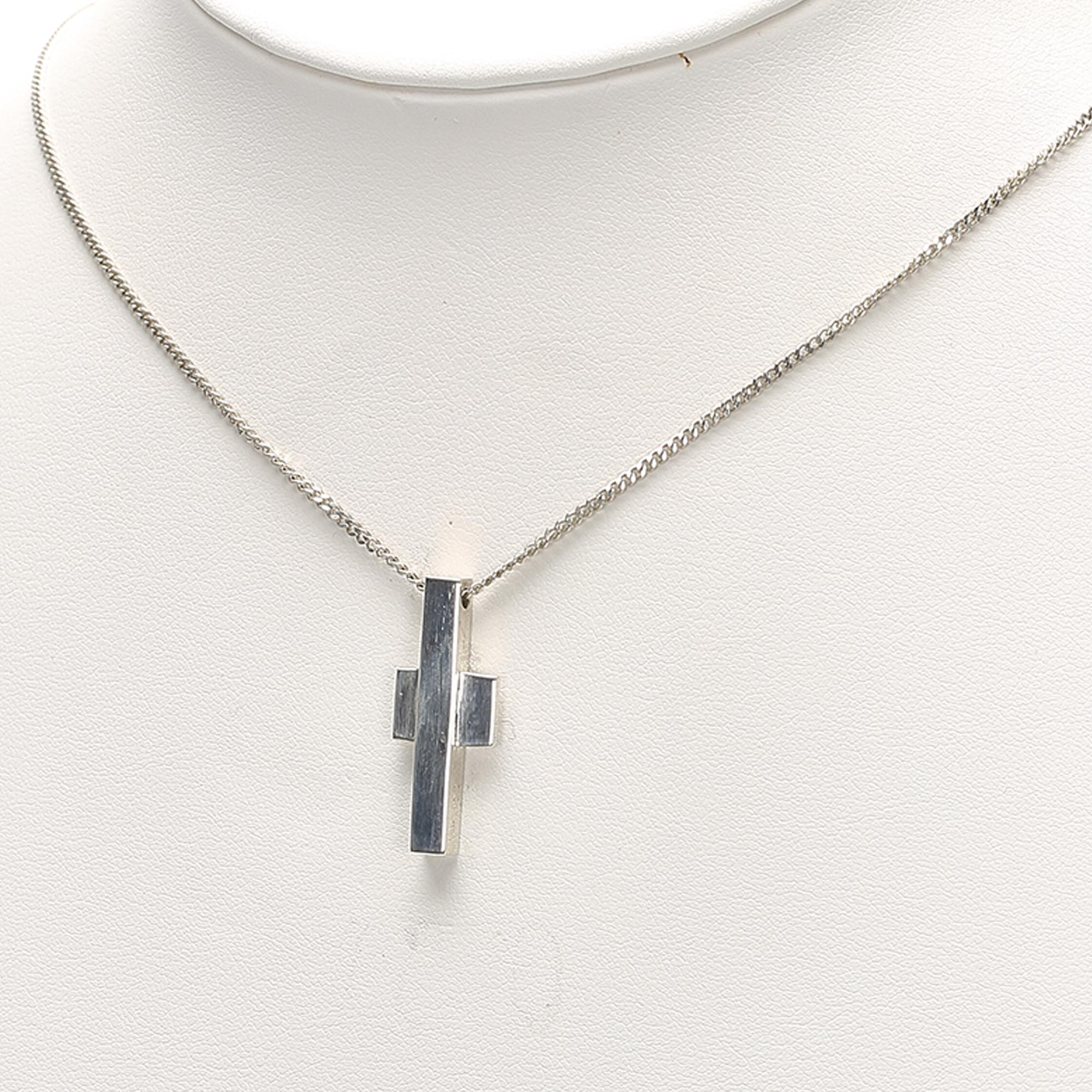 Gucci Silver Cross Pendant Necklace