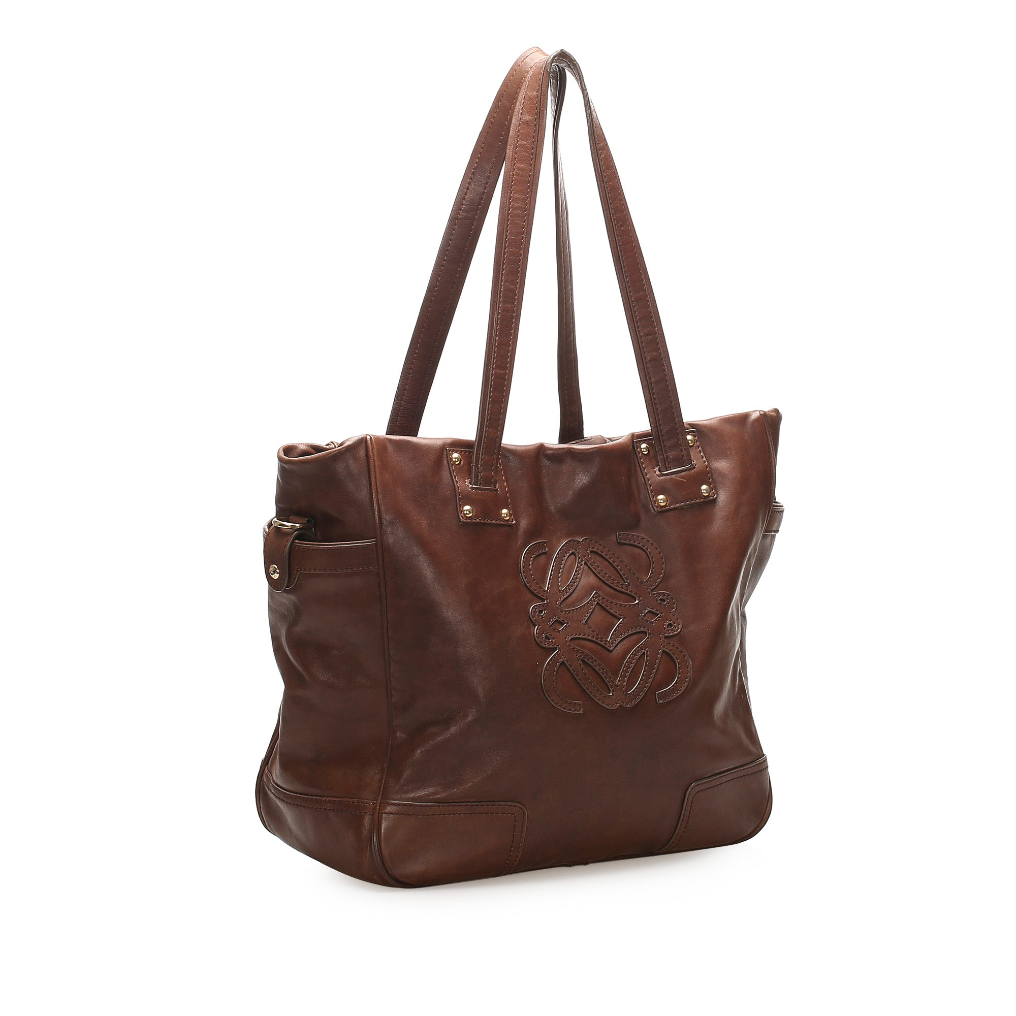 Loewe Brown Anagram Leather Tote Bag