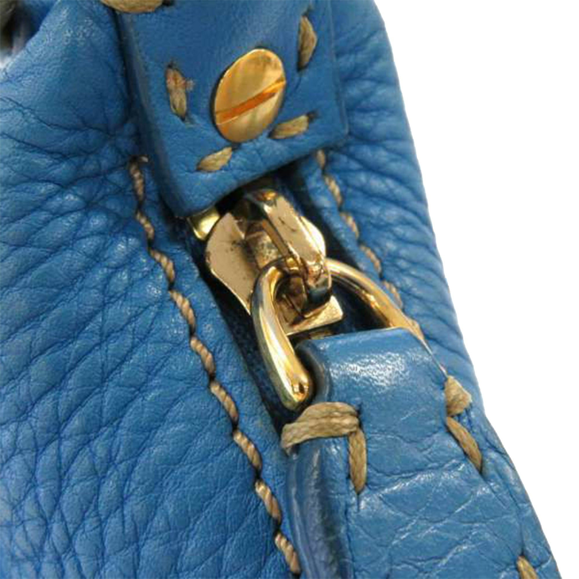 Fendi Blue Selleria Leather Crossbody Bag