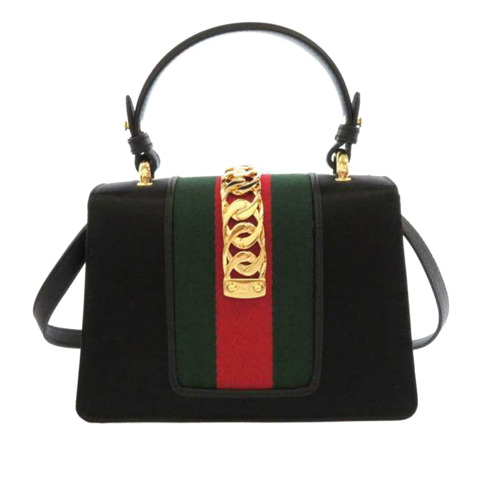 Gucci Black Mini Sylvie Satin Satchel
