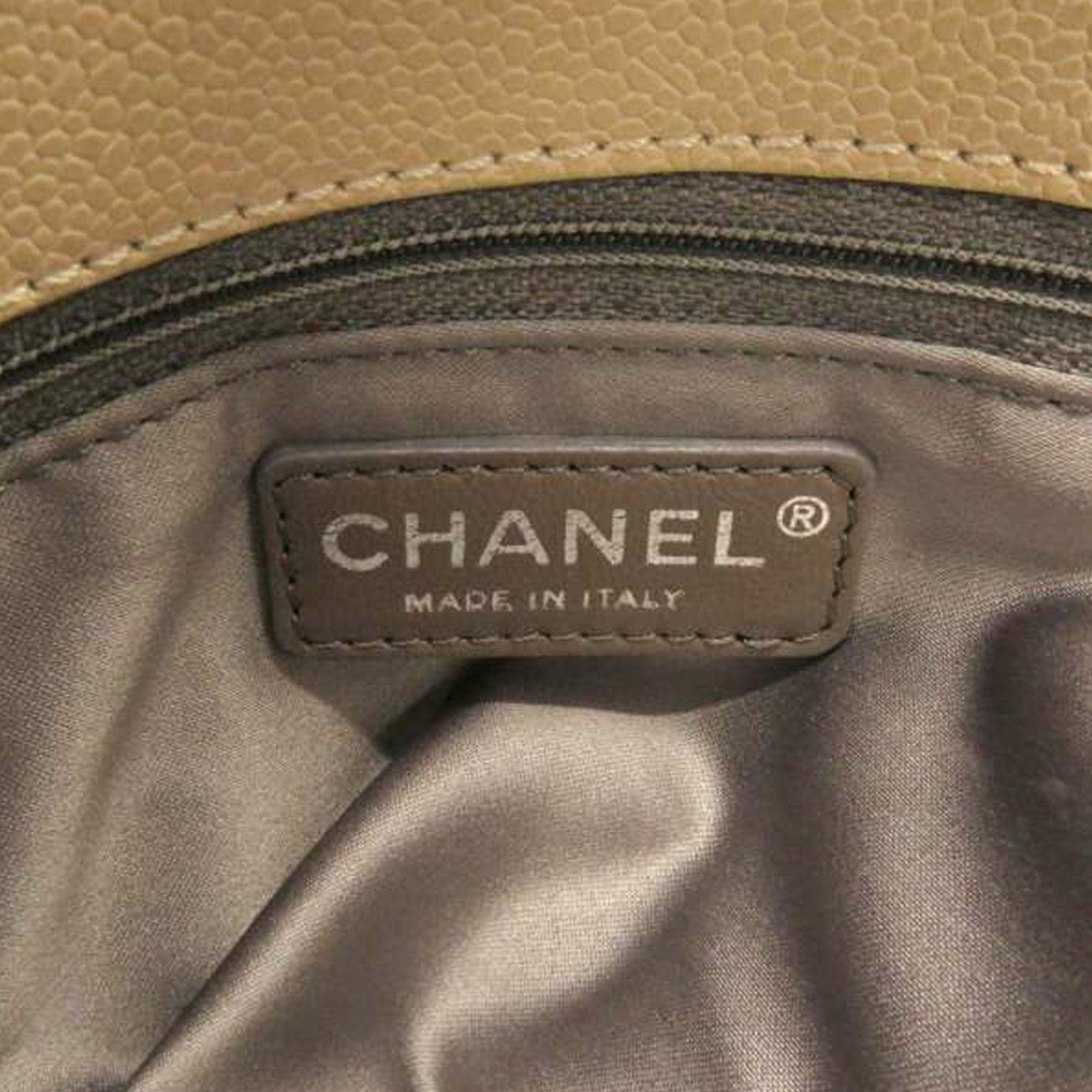 Chanel Brown Accordion Caviar Leather Shoulder Bag