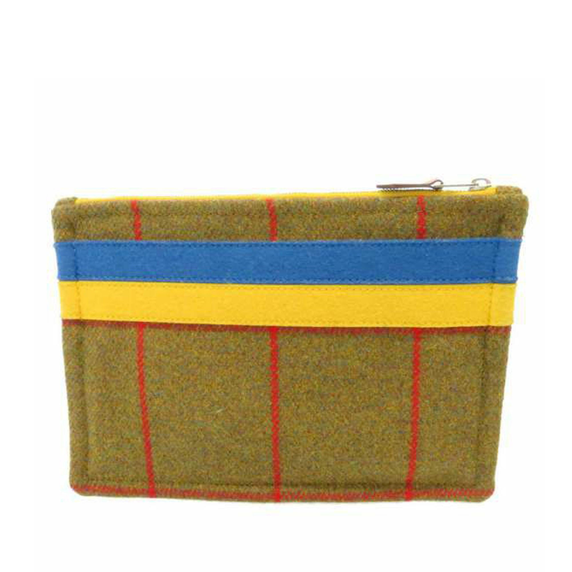 Hermes Yellow Plaid Wool Pouch