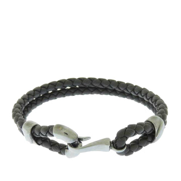 Bottega Veneta Black Intrecciato Leather Bracelet
