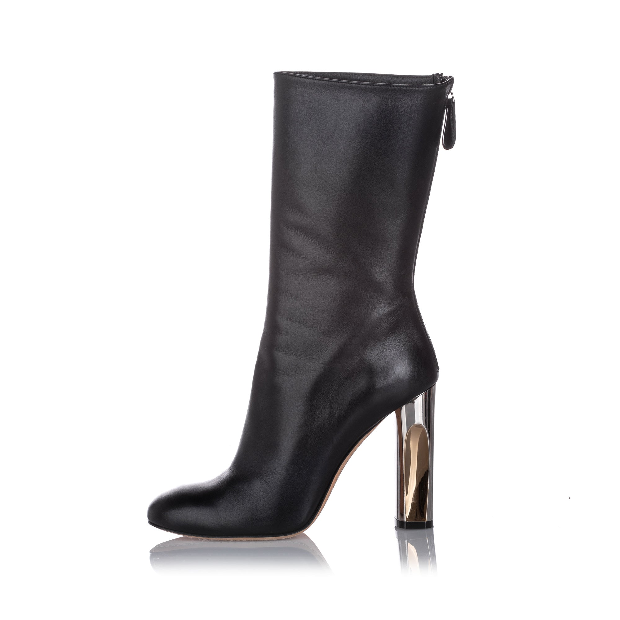 Alexander McQueen Black Sculpted Heel Leather Boot