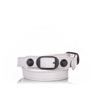 Balenciaga White Classic Arena Wrap Leather Bracelet