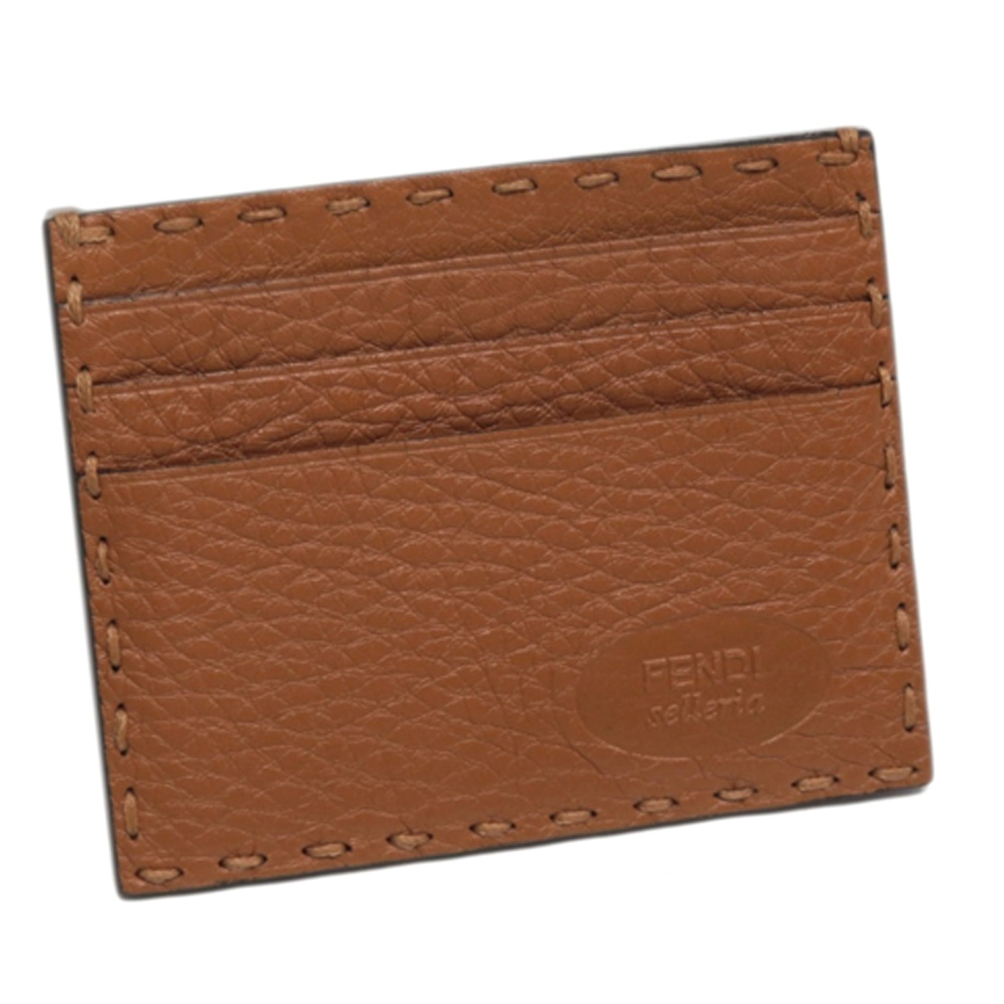 Fendi Brown Selleria Leather Card Holder