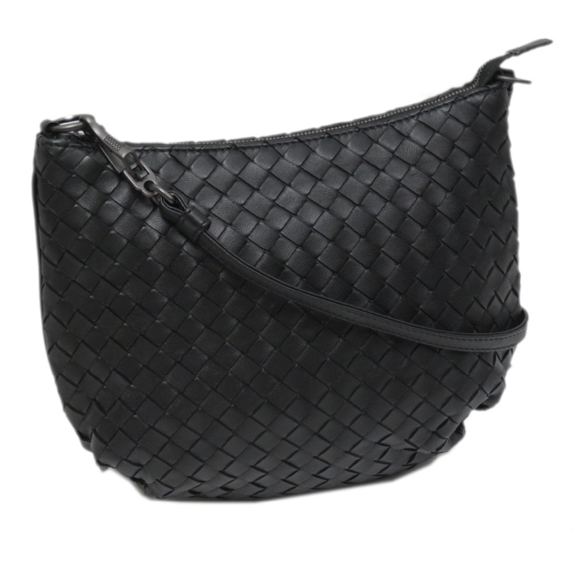 Bottega Veneta Black Intrecciato Leather Shoulder Bag