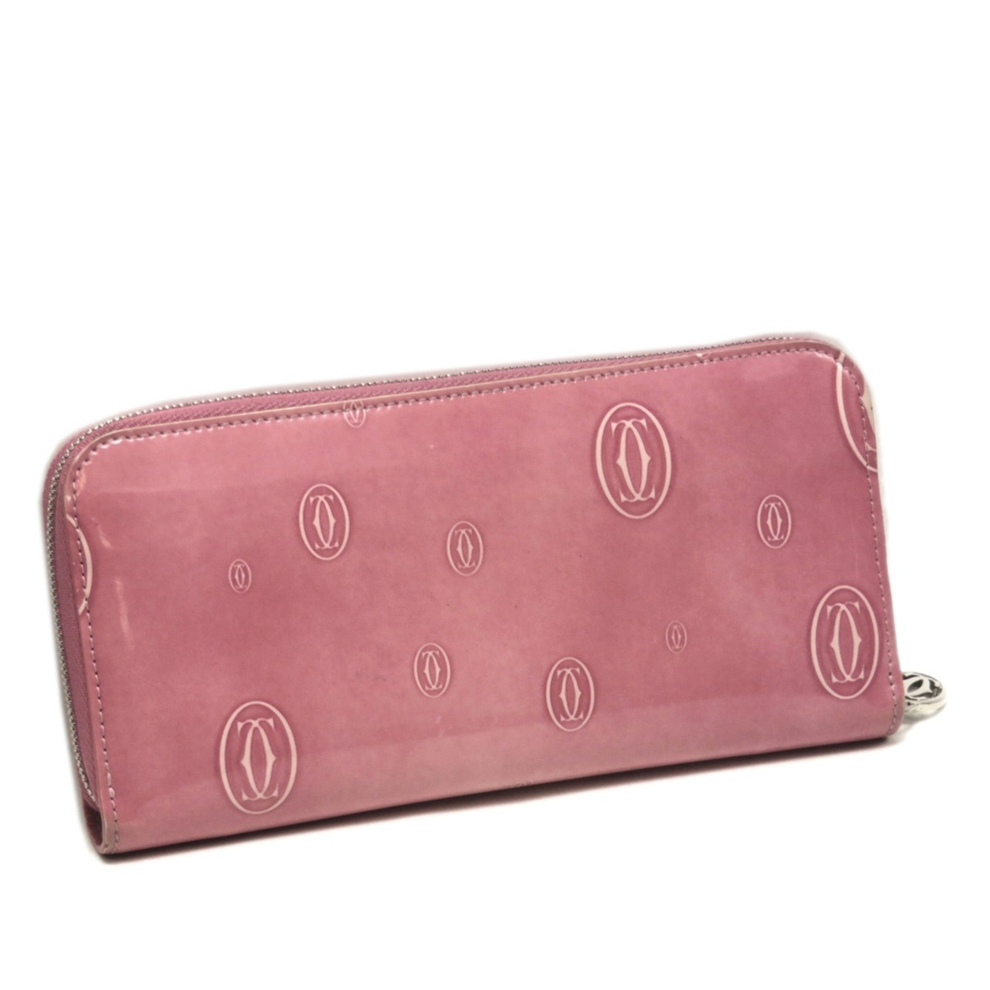 Cartier Pink Happy Birthday Patent Leather Long Wallet