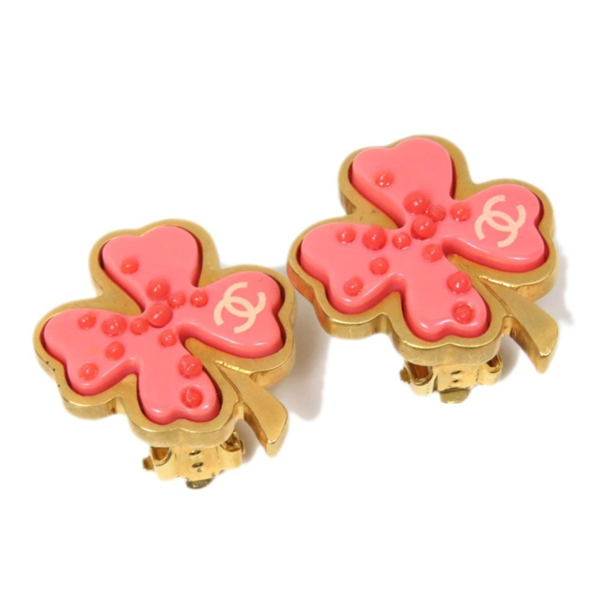 Chanel Pink Clover Flower Earrings