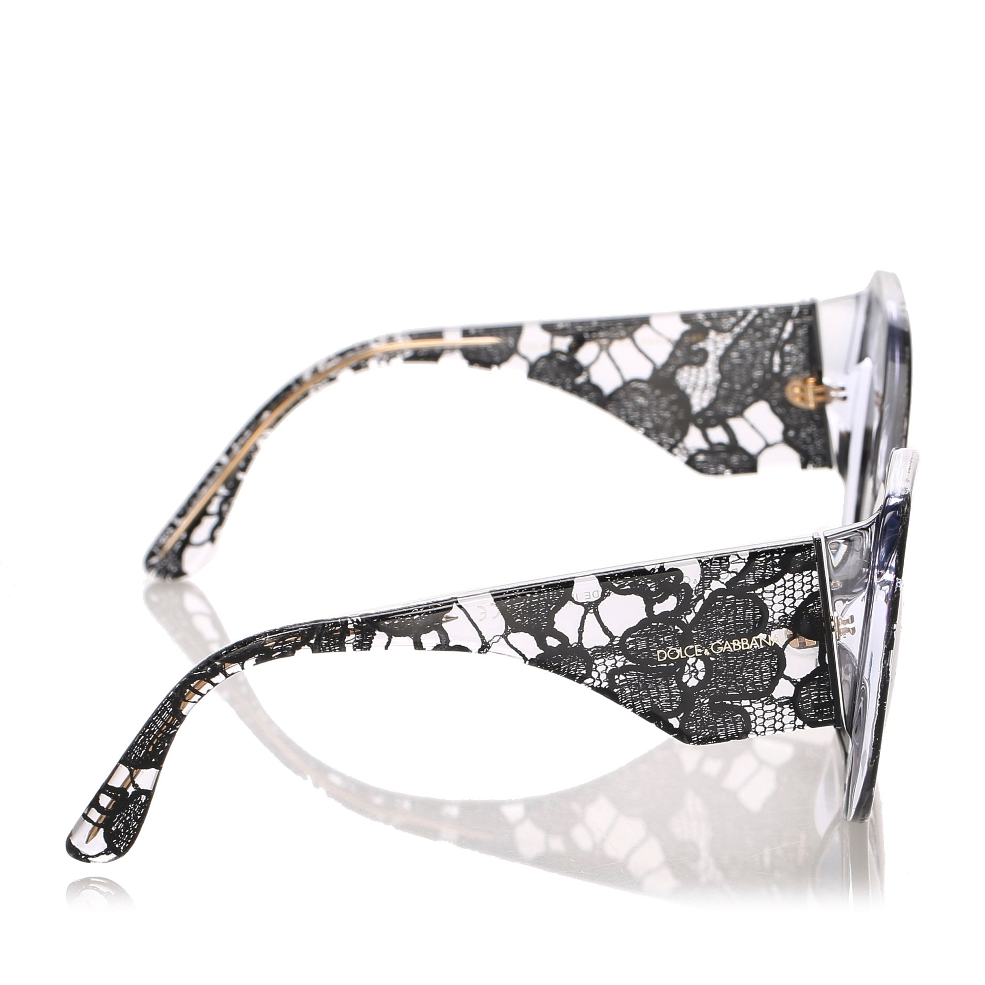 Dolce&Gabbana Black Lace Print Round Tinted Sunglasses