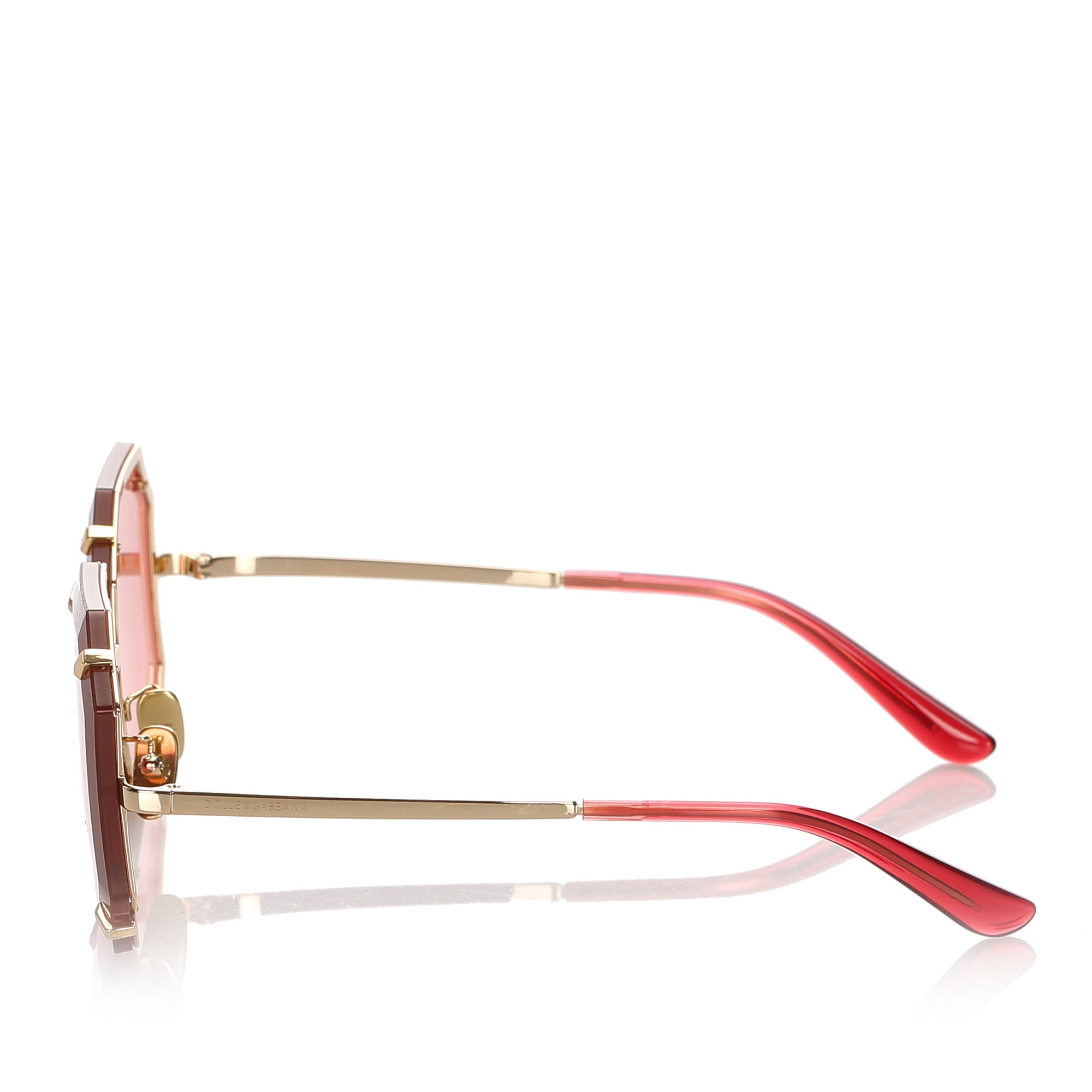 Dolce&Gabbana Red Octagonal Tinted Sunglasses