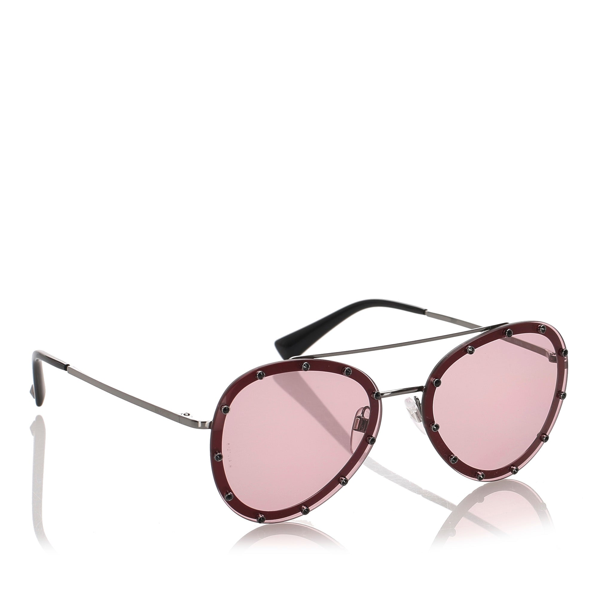 Valentino Red Crystal Embellished Aviator Sunglasses