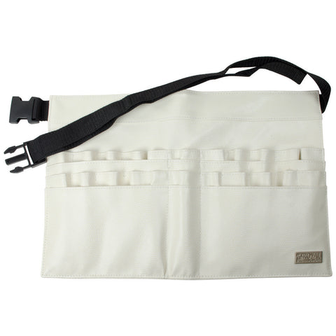 Ivory Leatherette 28-Compartment Brush Belt