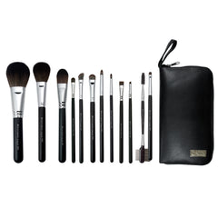 S.I.L.K® TRAVEL Synthetic 12-piece Kit - makeup brushes lined up side-by-side next to travel case