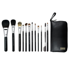 S.I.L.K® TRAVEL Natural 12-piece Kit - makeup brushes lined up side-by-side next to travel case