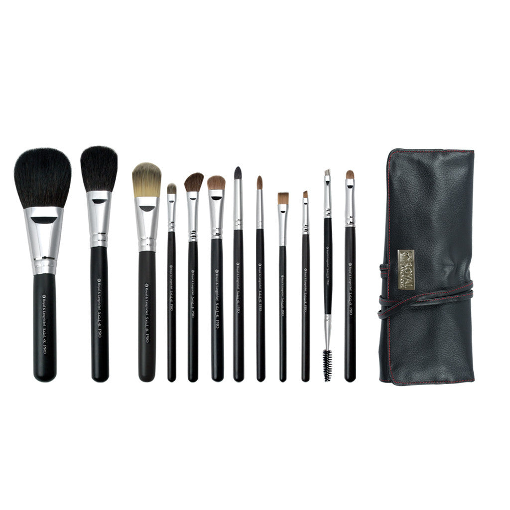 S.I.L.K® Pro 12-piece Kit - makeup brushes lined up side-by-side next to brush wrap
