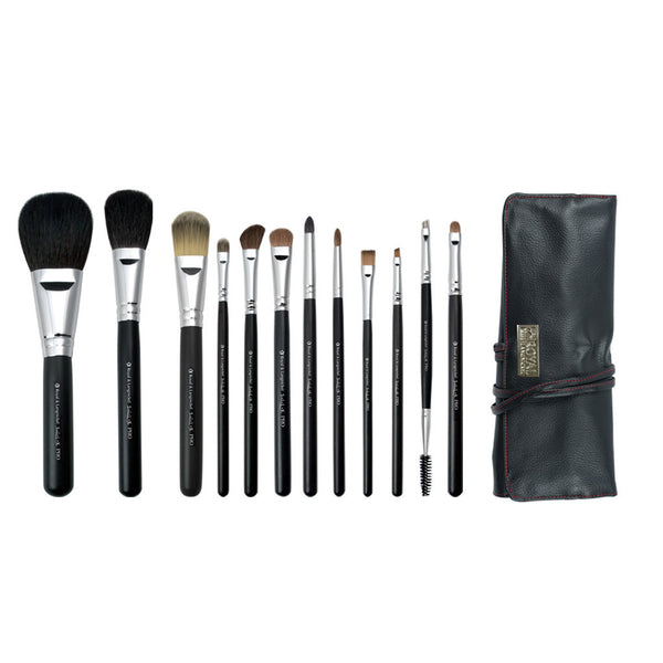 S.I.L.K® Pro 13pc Kit S.I.L.K® Pro 12-piece Kit - makeup brushes lined up side-by-side next to brush wrap