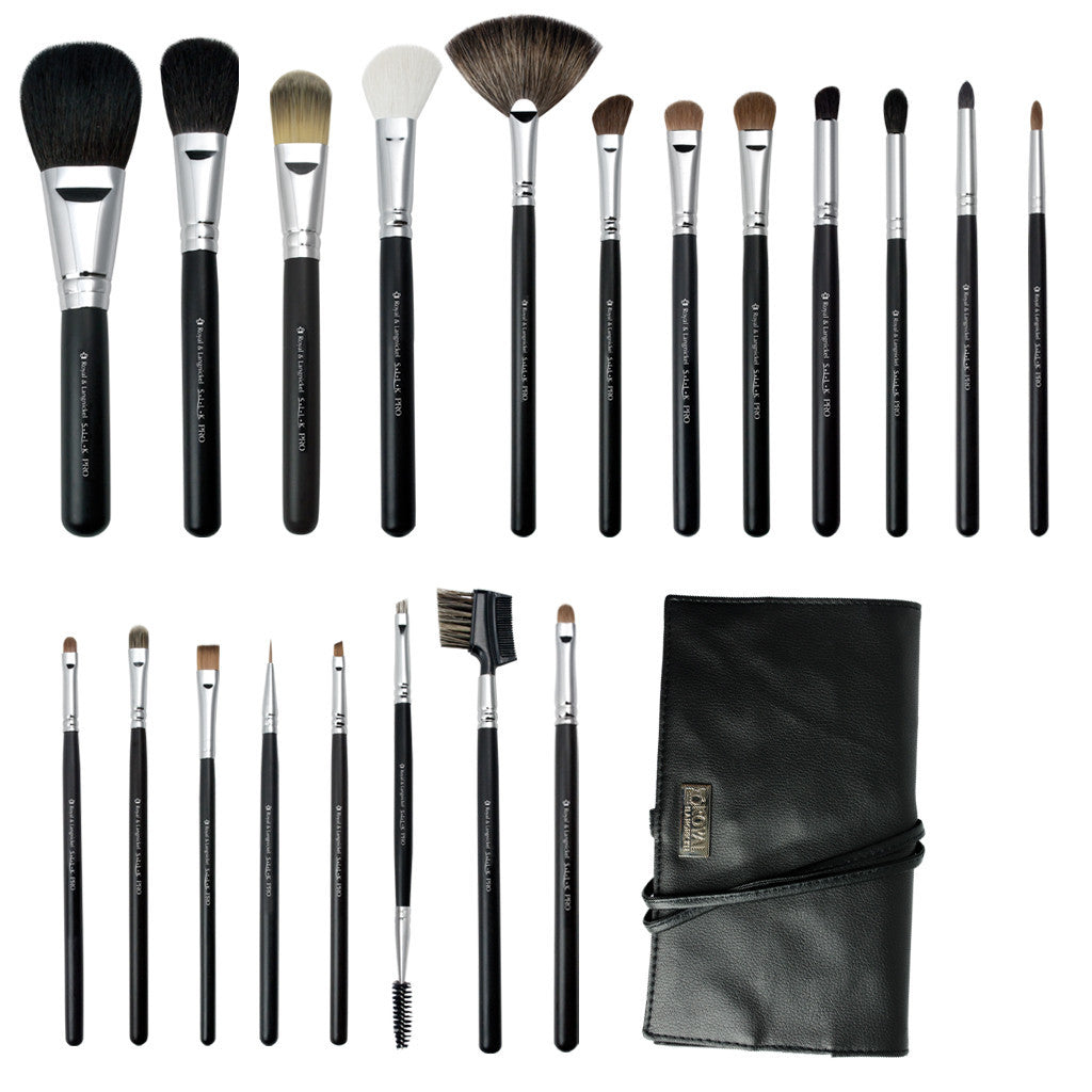 S.I.L.K® Pro 20-piece Kit - makeup brushes lined up side-by-side next to brush wrap