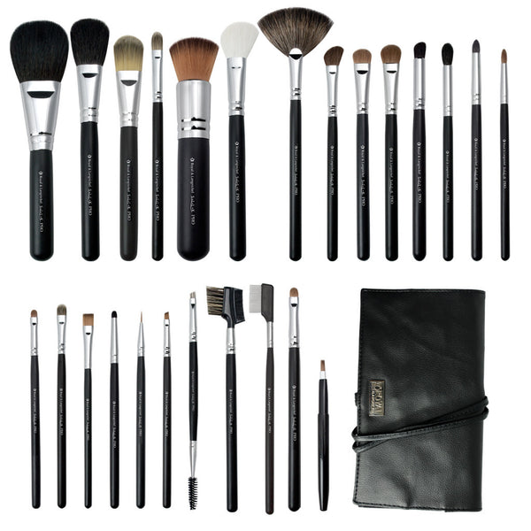 S.I.L.K® Pro 25-piece Kit - makeup brushes lined up side-by-side next to brush wrap