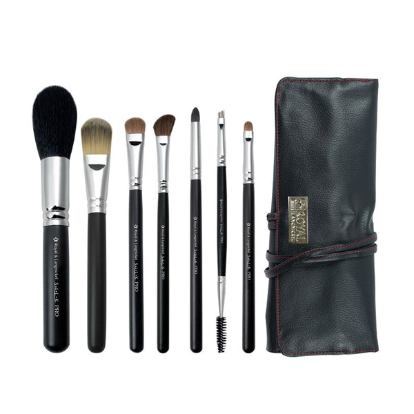 S.I.L.K® Pro 7-piece Kit - makeup brushes lined up side-by-side next to brush wrap