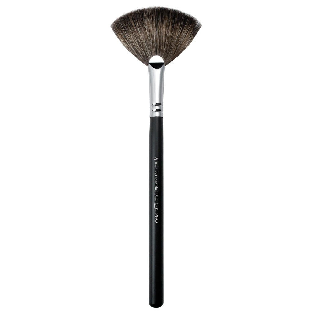 Full view of S.I.L.K® Fan makeup brush facing left