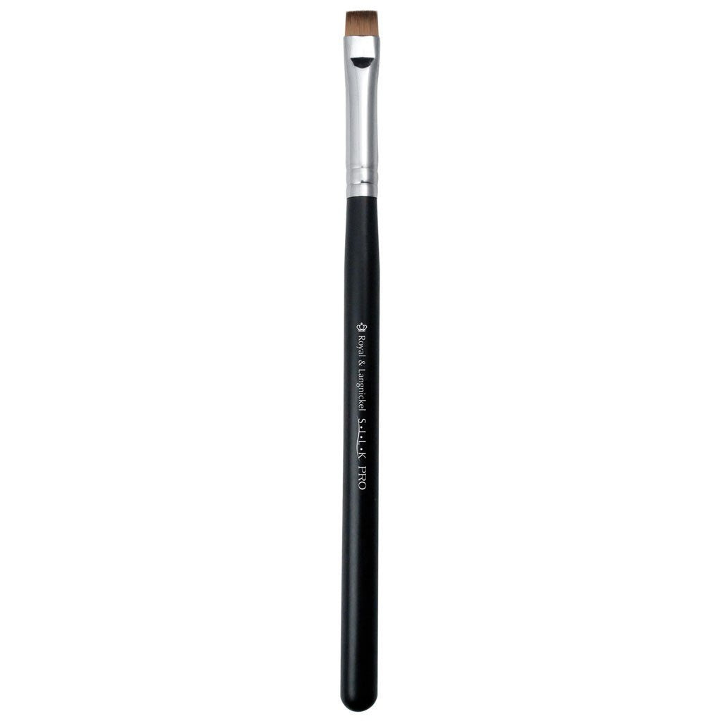 Full view of S.I.L.K® Short Flat Synthetic Liner makeup brush facing left