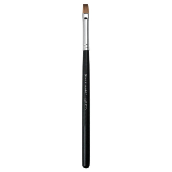 Full view of S.I.L.K® Synthetic Flat Lip makeup brush facing left