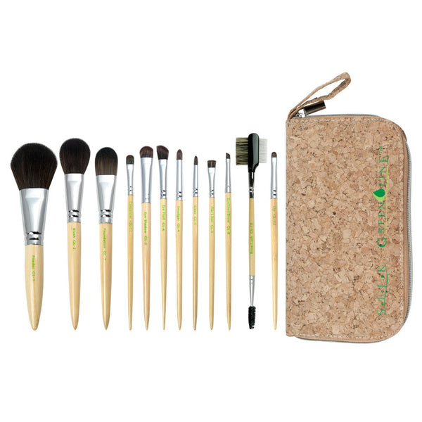 S.I.L.K PRO GreenLine™ 13pc Kit S.I.L.K PRO GreenLine™ 12-piece Kit - makeup brushes lined up side-by-side next to travel kit