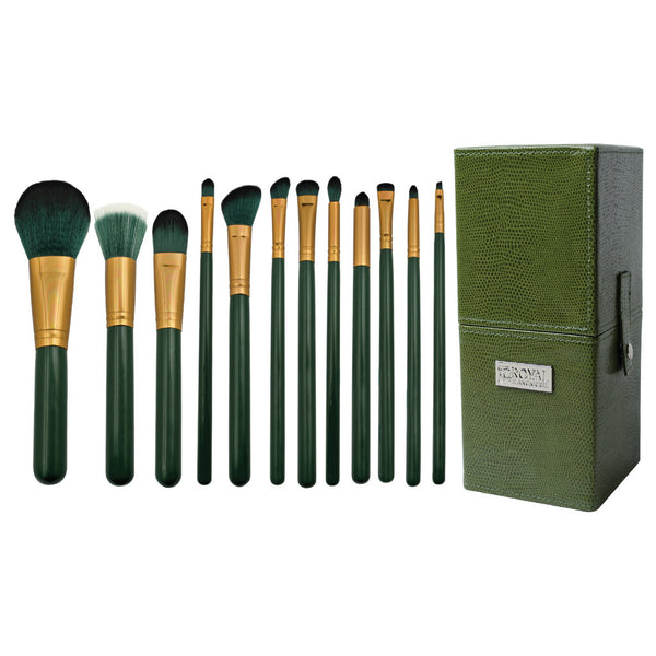 Guilty Pleasures... Envy™ – 12-piece Brush Kit - all makeup brushes lined up side-by-side next to brush kit box