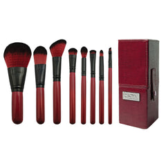 Guilty Pleasures... Lust™ – 8-piece Travel Brush Kit - makeup brushes lined up side-by-side next to brush kit box