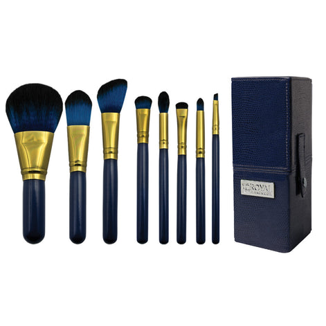Guilty Pleasures... Pride™ – 8-piece Travel Brush Kit - makeup brushes lined up side-by-side next to brush kit box